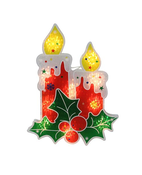 Northlight Lighted Holographic Holly and Berry Candle Christmas Window Silhouette Decoration