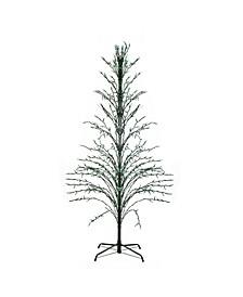 9' Green Christmas Cascade Twig Tree Outdoor Decoration - Green Lights