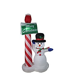 "6' Inflatable Lighted Snowman with ""Merry Christmas"" Sign Christmas Yard Art Decoration"