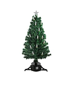 Pre-Lit Fiber Optic Artificial Christmas Tree with Candles - Multi Lights