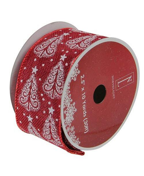 """Northlight Cranberry Red and White Trees Burlap Wired Christmas Craft Ribbon 2.5"""" x 10 Yards"""