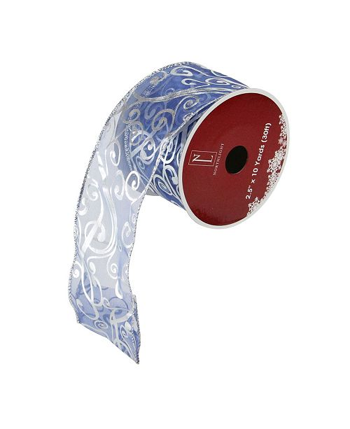 """Northlight Blue and Silver Shiny Abstract Swirls Wired Christmas Craft Ribbon 2.5"""" x 10 Yards"""