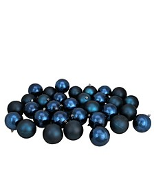 """32ct Sapphire Blue Shatterproof Shiny and Matte Christmas Ball Ornaments 3.25"""" 80mm"""