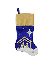 "20.5"" Blue and Gold Nativity Scene Christmas Stocking with Gold Cuff"