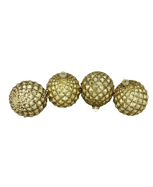 Northlight 4 Count Gold-Tone Glitter Flake Christmas Glass Ball ornaments 100mm