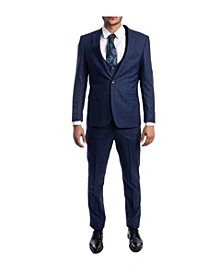 Men's Ultra Slim Notch Lapel Glen Plaid Suit