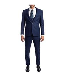 Tazio Men's Ultra Slim Notch Lapel Glen Plaid Suit