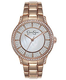 Women's Crystal Encrusted Rose Gold Plated Bracelet Watch 36mm