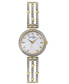 Jessica Simpson Women's Gold Star Accent Adjustable Silver Tone Bangle Watch 33mm