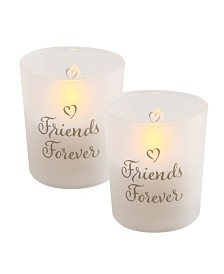 Lumabase Battery Operated Wax Filled Glass LED Candles, Friends Forever, Set of 2