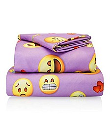 Emoji Print Double-Brushed Microfiber Sheet Set Collection