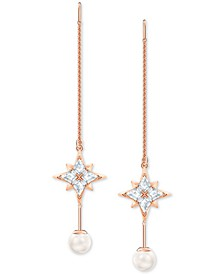 Rose Gold-Tone Imitation Pearl & Crystal Star Threader Drop Earrings