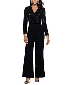 Sequined & Crepe Jumpsuit