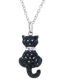 "Black Pave Crystal Cat Pendant with 18"" Chain set in Sterling Silver"