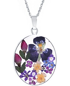 """Medium Oval Dried Flower Medal Pendant with 18"""" Chain in Sterling Silver. Available in Multi, Purple or Red"""