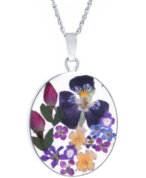 Medium Oval Dried Flower Medal Pendant with 18
