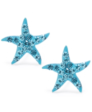Light Aqua Pave Crystal Starfish Stud Earrings set in Sterling Silver