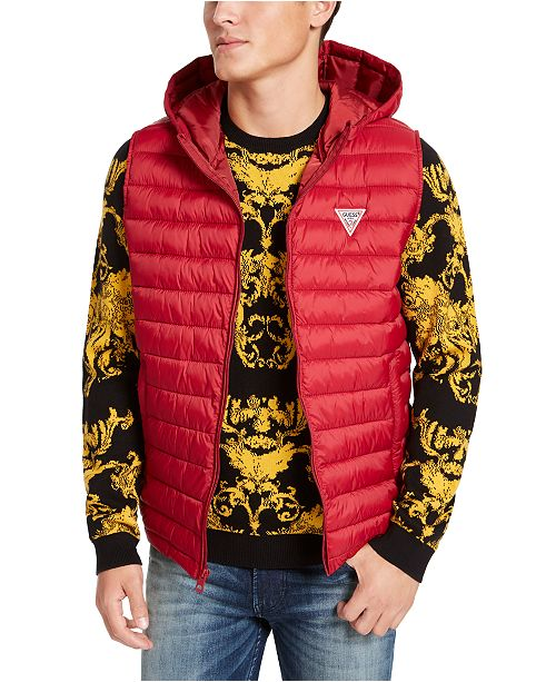 GUESS Men's Hooded Puffer Vest
