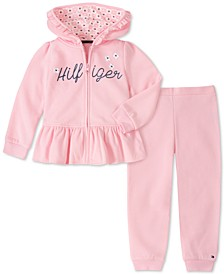 Baby Girls 2-Pc. Fleece Peplum Hoodie & Jogger Pants Set