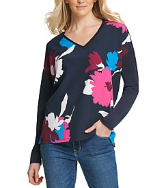 DKNY Sequined-Print Colorblocked Top