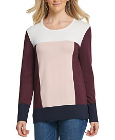 DKNY Colorblocked Vented-Hem Sweater