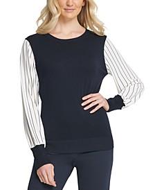 Striped-Sleeve Ribbed-Edge Sweater