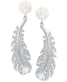 Silver-Tone Pavé & Imitation Pearl Feather Chandelier Earrings