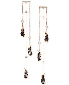 Rose Gold-Tone Crystal Feather Chandelier Earrings