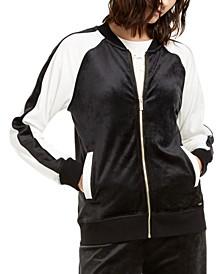 Colorblocked Velour Zip-Up Jacket