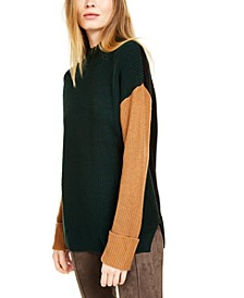 Mock-Neck Colorblocked Sweater