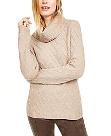 Chevron-Stitch Cowlneck Sweater
