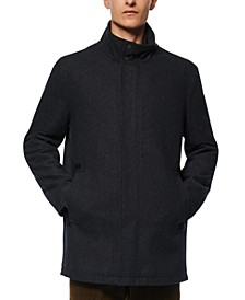 Men's Melton Car Coat with Faux Leather Trim and Inset Nylon Bib