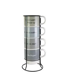 Coffee Sentiments 5-Piece Mug Set with Standing Metal Rack