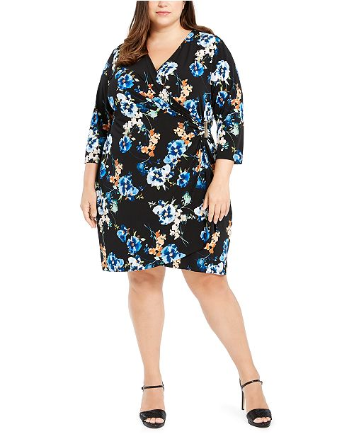 Calvin Klein Plus Size Printed Faux-Wrap Dress