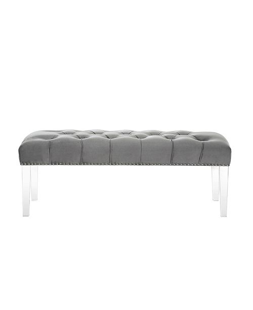 Excellent Victoria Velvet Button Tufted Bench With Acrylic Legs Bralicious Painted Fabric Chair Ideas Braliciousco