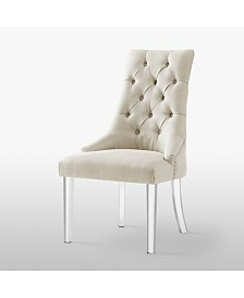 Inspired Home Marilyn Button Tufted Dining Chair with Acrylic Legs Set of 2