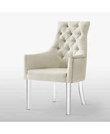 Inspired Home Marilyn Button Tufted Arm Dining Chair with Acrylic Legs Set of 2