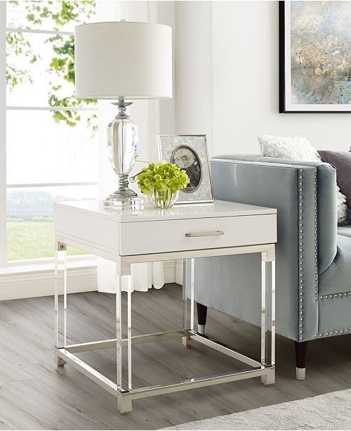 Casandra High Gloss End Table With Acrylic Legs And Metal Base