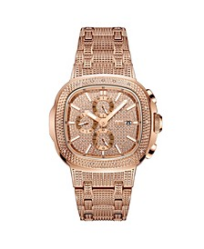 Men's Diamond (1/5 ct. t.w.) Watch in 18k Rose Gold-plated Stainless-steel Watch 48mm