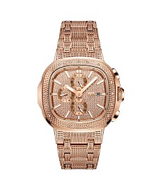 JBW Men's Diamond (1/5 ct. t.w.) Watch in 18k Rose Gold-plated Stainless-steel Watch 48mm