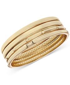 Gold-Tone 4-Pc. Set Baguette-Crystal Bangle Bracelets
