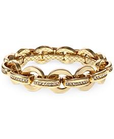Gold-Tone Pavé Link Stretch Bracelet