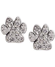 Silver-Tone Pavé Paw Stud Earrings