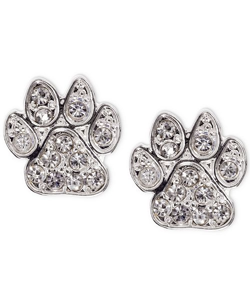Pet Friends Jewelry Silver-Tone Pavé Paw Stud Earrings