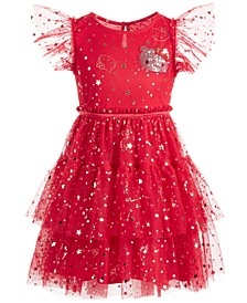 Little Girls Embellished Tiered Mesh Dress