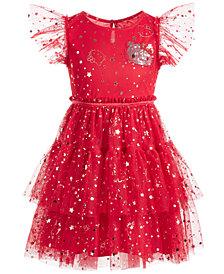Hello Kitty Little Girls Embellished Tiered Mesh Dress