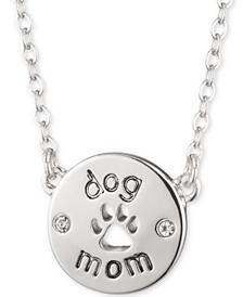 "Silver-Tone Dog Mom Pendant Necklace, 16"" + 3"" extender"