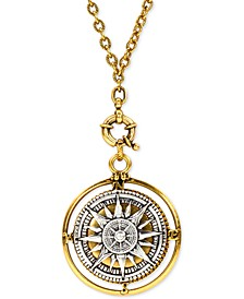 "Two-Tone Compass 30"" Long Pendant Necklace"