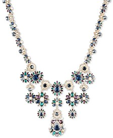 "Gold-Tone Pavé, Stone & Imitation Pearl Statement Necklace, 16"" + 3"" extender"