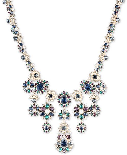 "Marchesa Gold-Tone Pavé, Stone & Imitation Pearl Statement Necklace, 16"" + 3"" extender"